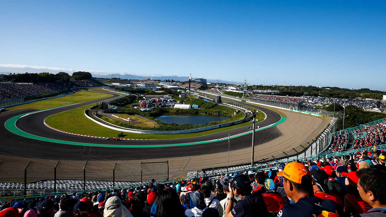 view from the crowd onto the famous Suzuka track
