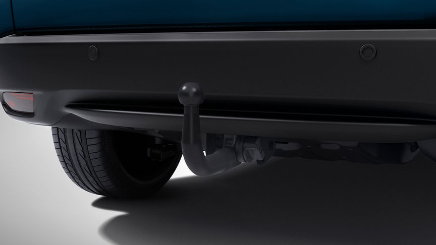 Close up of Honda HR-V detachable tow bar with 13-pin trailer harness.