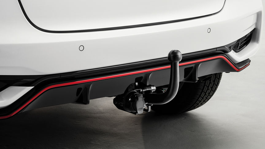 Detail of Honda Jazz detachable tow bar.