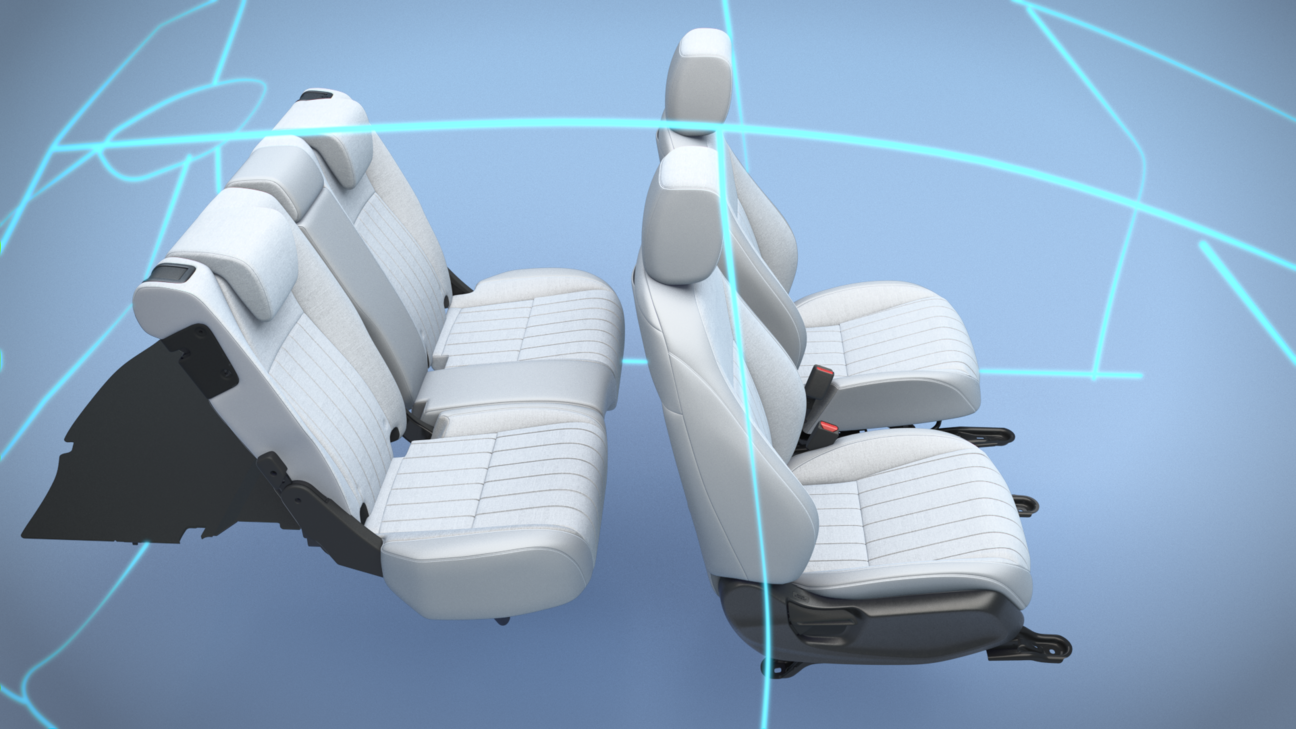 Honda Jazz Hybrid Seats in wireframe car
