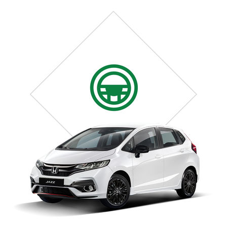 Front three-quarter facing Honda Jazz with test drive illustration.