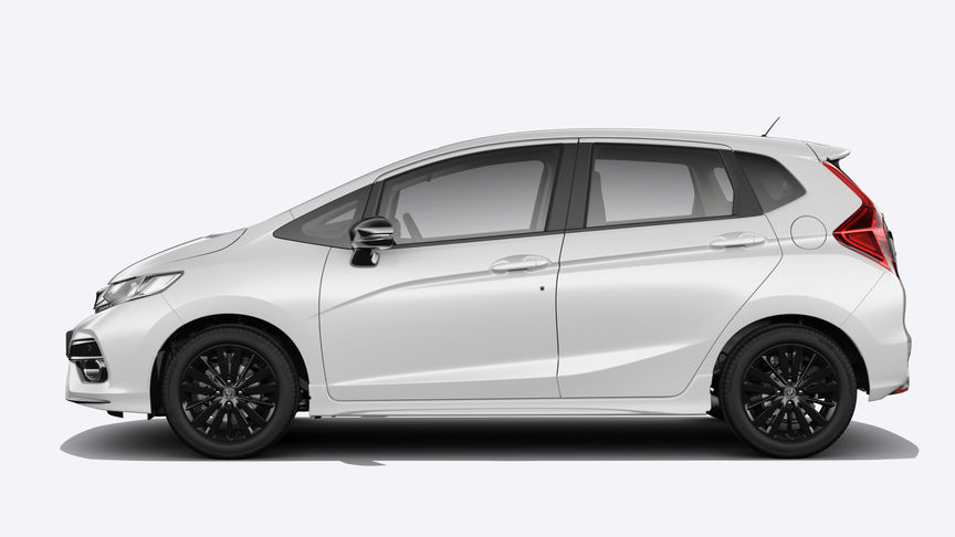 Side facing Honda Jazz in White Orchid Pearl.