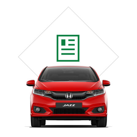 Front facing Honda Jazz with brochure illustration.
