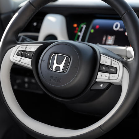 Close up of Honda Jazz Steering Wheel