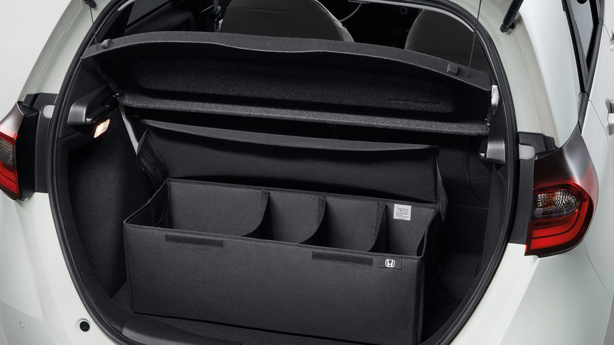 Close up of Honda Jazz Hybrid foldable boot organiser.