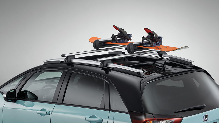 Close up of Honda Jazz Hybrid ski and snowboard attachment