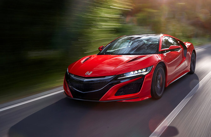 Front view of NSX driving on the road
