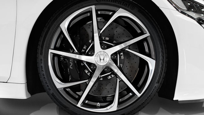Close up of Honda NSX exclusive wheels.