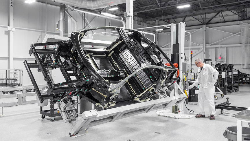 Shot of the Honda NSX body frame.