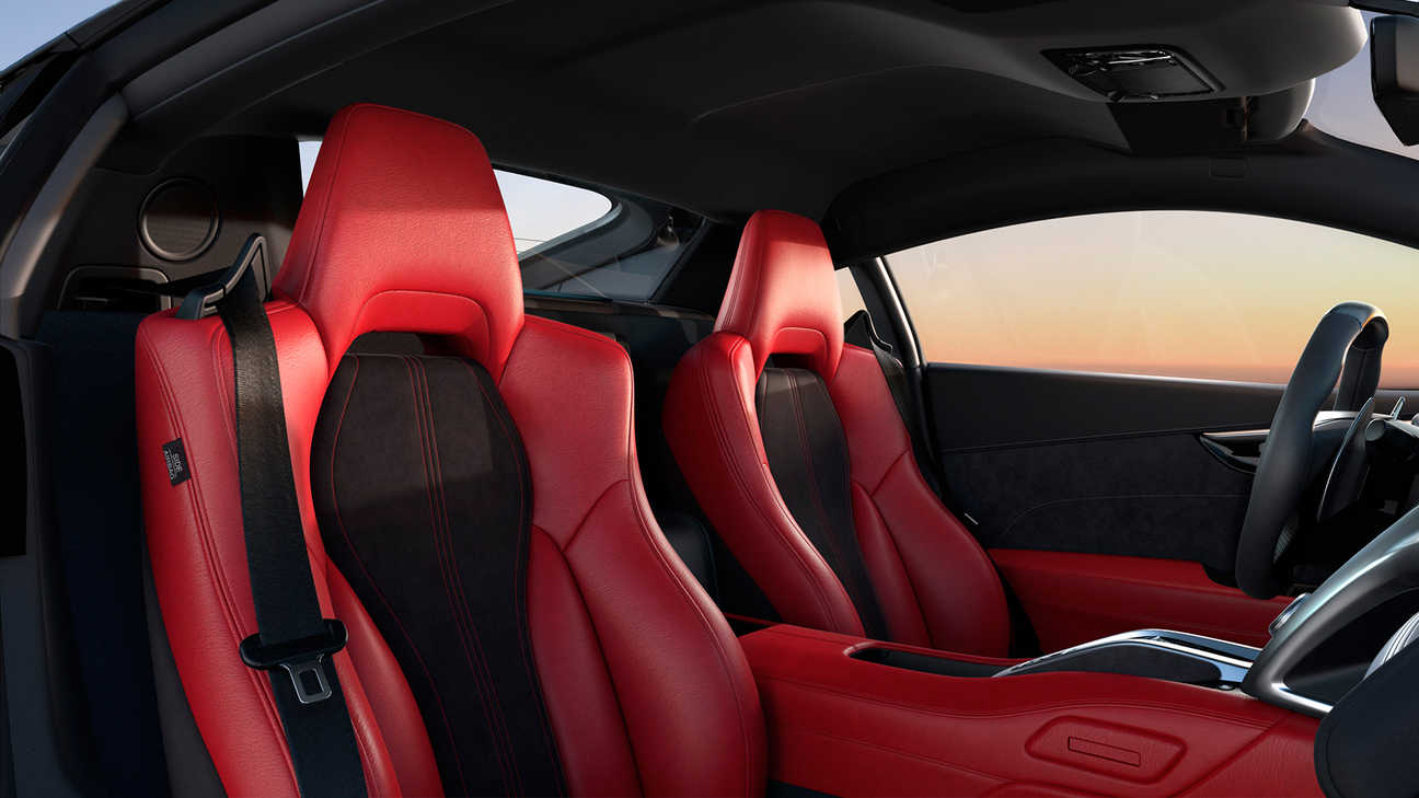 Three-quarter facing Honda NSX Semi-aniline leather and Alcantara interior.