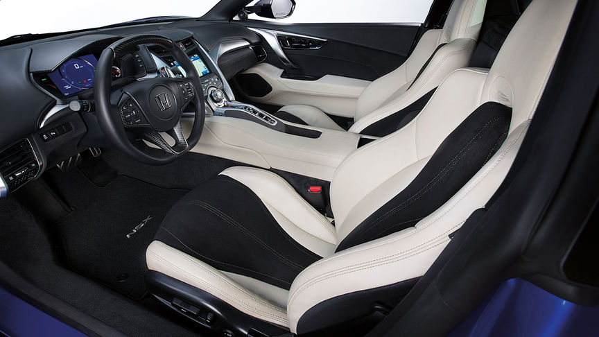 Three-quarter shot of Honda NSX interior and dash.