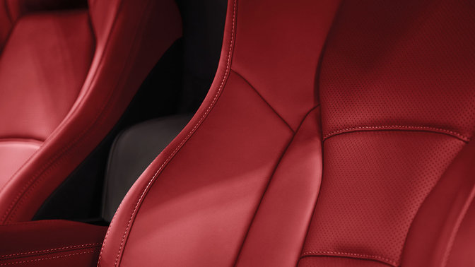 Close up of Honda NSX leather seats.