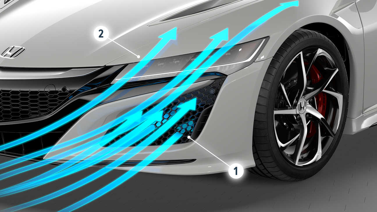 An image to show airflow round the front bumper of the Honda NSX.