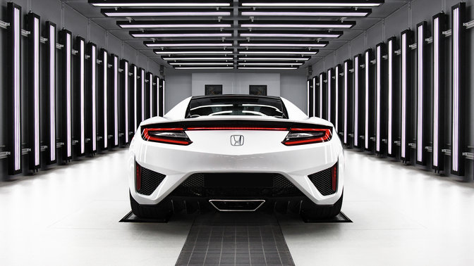 Rear facing Honda NSX.