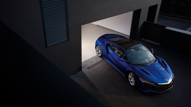 Aerial front three-quarter Honda NSX.
