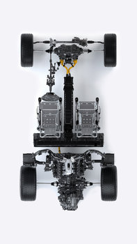 Aerial view of Honda NSX chassis.