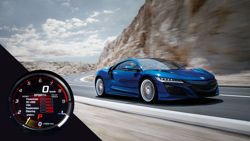 Front three-quarter facing Honda NSX on a windy mountain road.