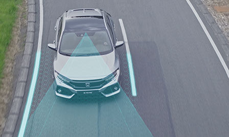 Honda Sensing car exterior shot on the road illustrating rLane Keeping Assist System and Collision Mitigation Braking System.