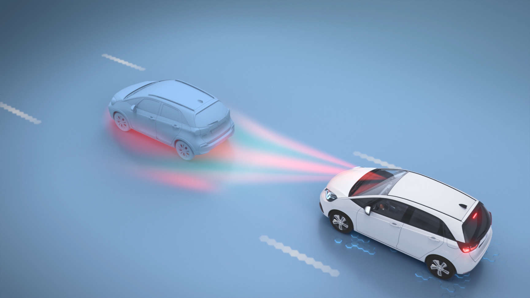 Honda car driving behind another car showing detection signal in Collision management