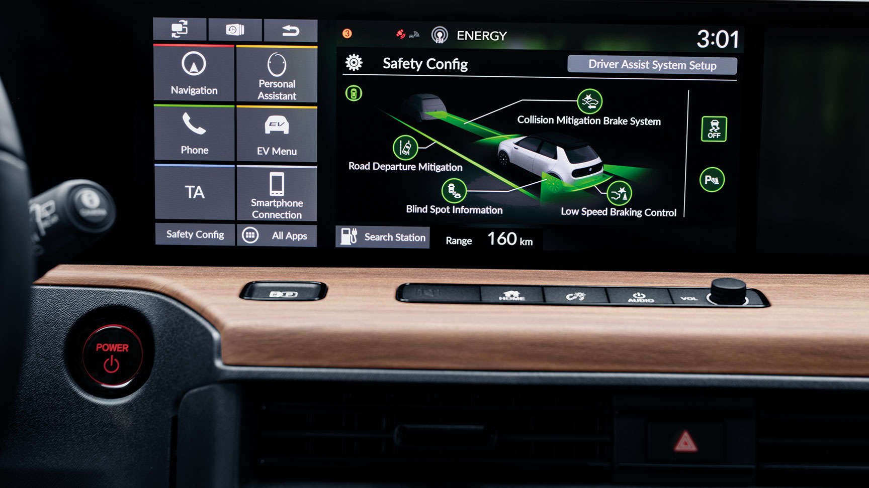 Dashboard screen showing braking control configurations