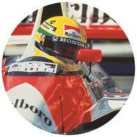 Senna in the Honda Formula 1 racing car.
