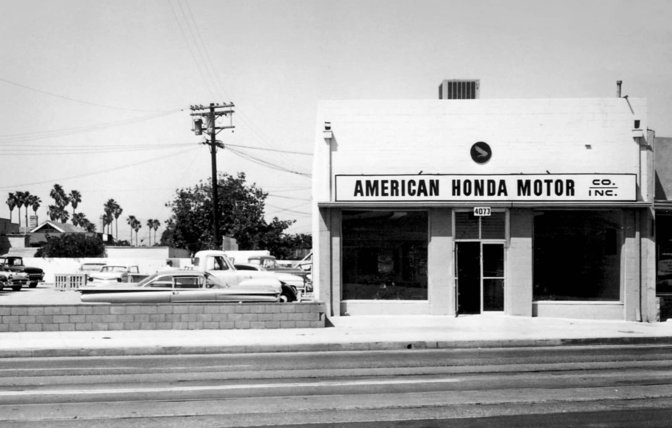 A heritage shot of the The Honda Motor Co. in Los Angeles.