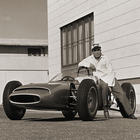 Soichiro Honda and the first Honda racing car.