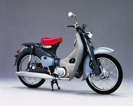 Side facing Honda Super Cub.