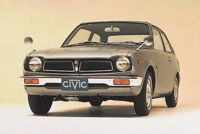 The first Honda Civic, front three-quarter facing.