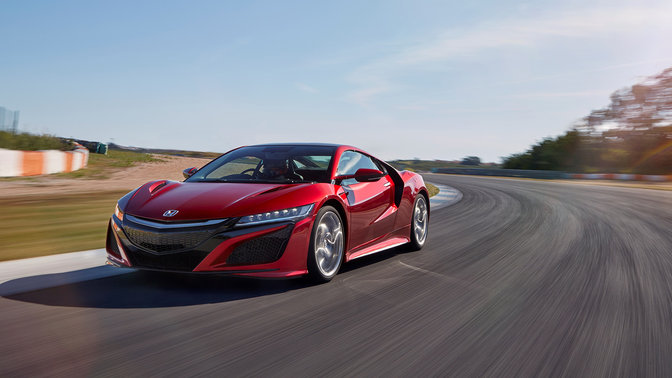 The latest Honda NSX, front three-quarter facing.