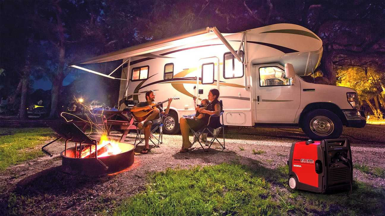 family on a campsite sitting by fire pit using portable inverter generator