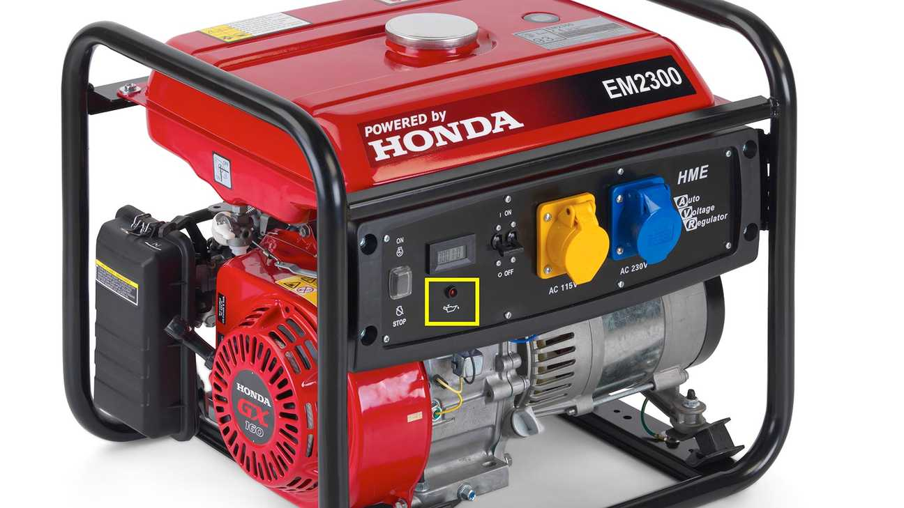 close up of an oil alert control on a honda power generator
