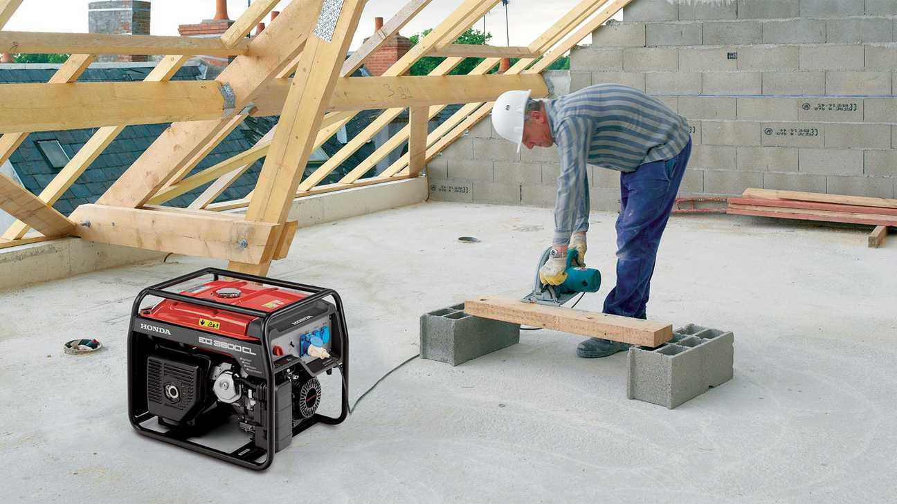 specialist open frame ec generator being used on construction site by a worker