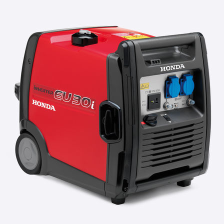 Honda EU 10i generator, front three quarters view.