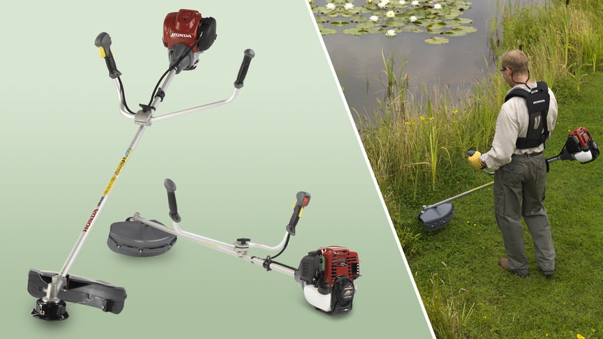 Left: 2x Honda Brushcutters Right: Brushcutter being used by model, garden location.