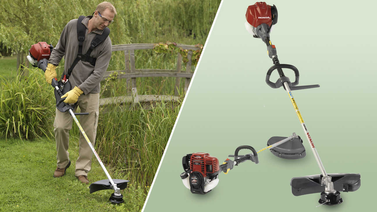 Left: Brushcutter being used by model. Right: 2x Honda Brushcutters.
