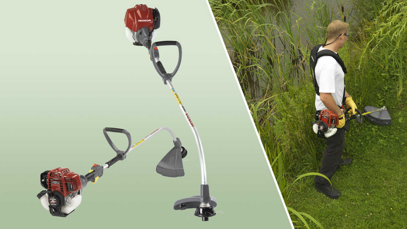 Left: 2x Honda Brushcutters. Right: Brushcutter being used by model, garden location.