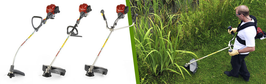 Left: 3x Honda Brushcutters Right: Brushcutter being used by model, garden location.