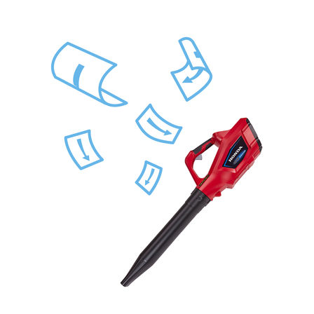 Honda cordless leafblower with brochure illustration.