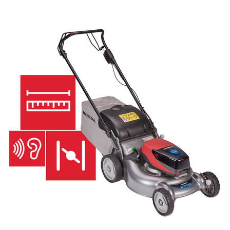 Honda cordless izy-ON mower with specification illustration.