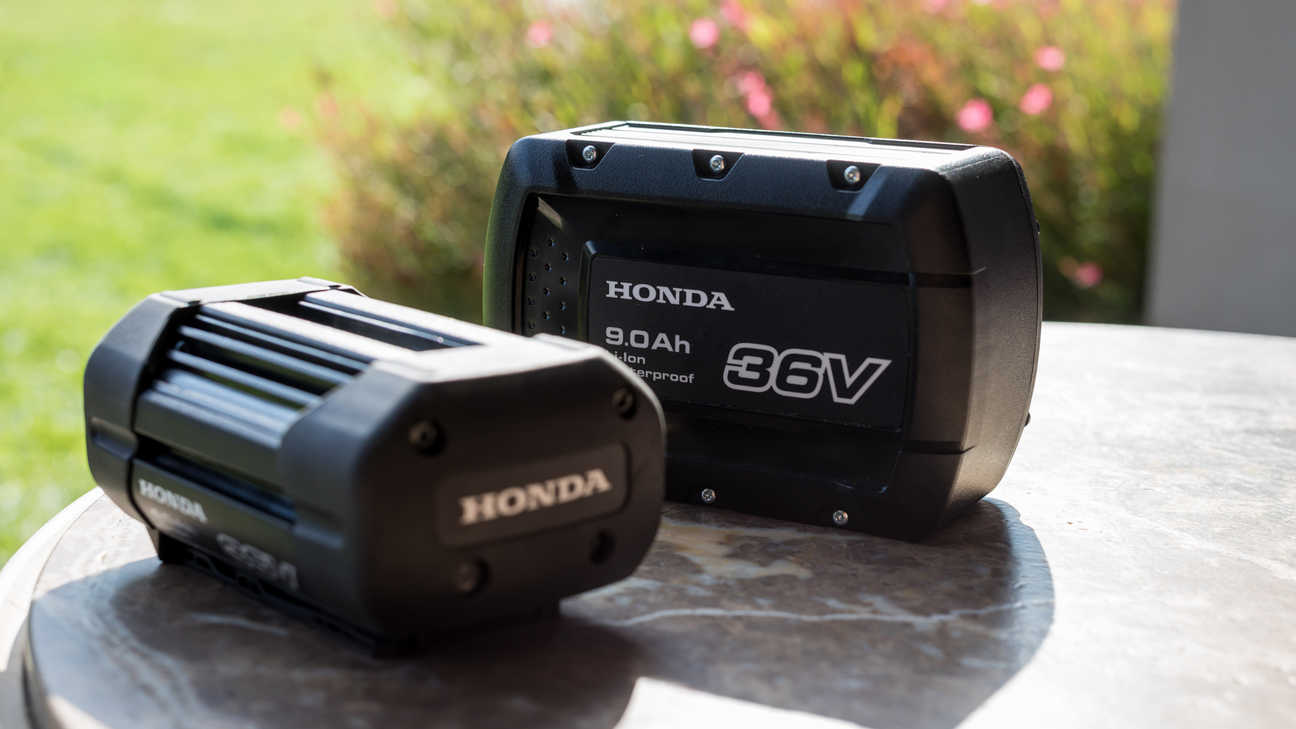 Close up Honda batteries in garden location.
