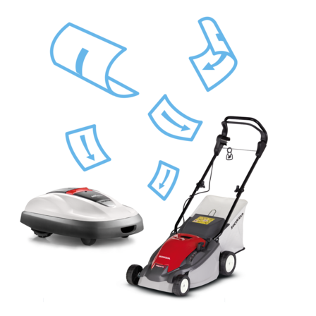 Miimo and lawnmower, brochure illustration.