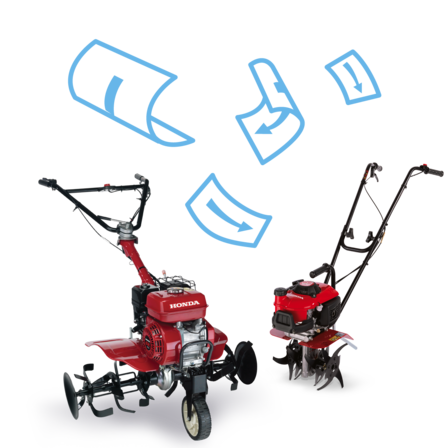 2x Honda Tillers, brochure illustration.
