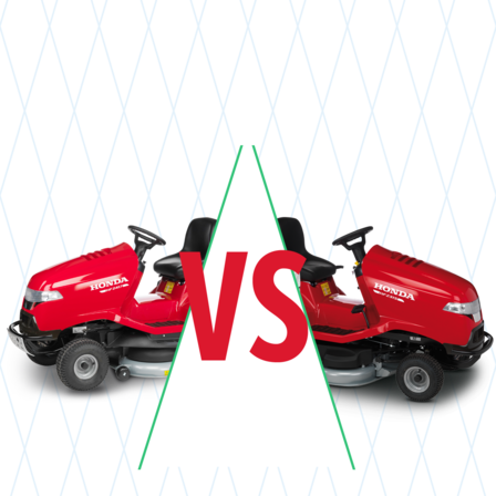 2x ride-on mowers with compare illustration.
