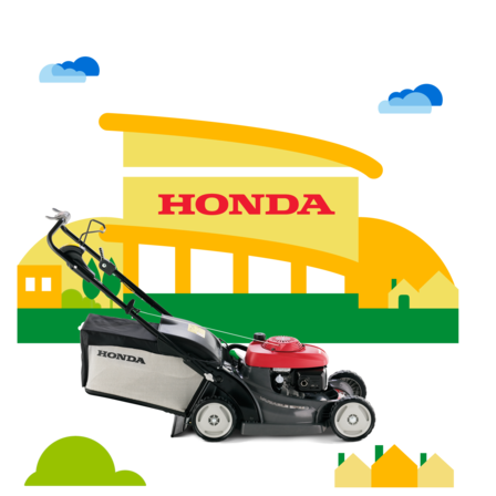 Honda lawnmower, side view, right facing.