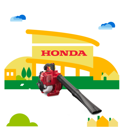 Side view, right facing leafblower with dealer illustration.