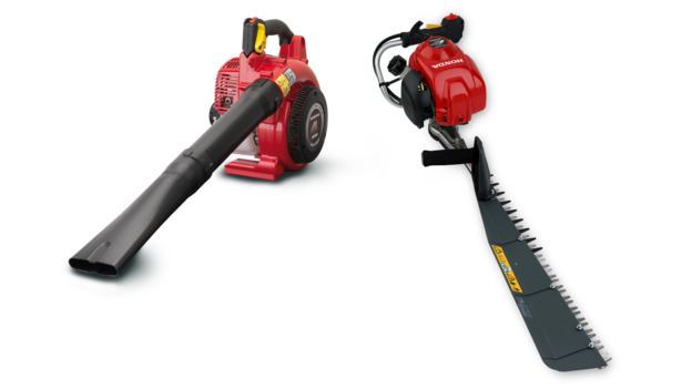 Two handheld products, one leafblower and one hedgetrimmer, side by side.