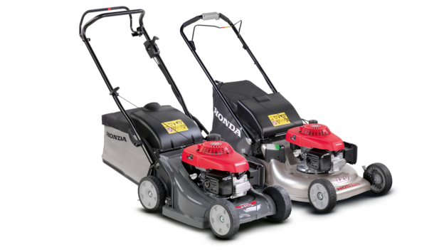 2x Honda lawnmowers, front three quarter, right facing.
