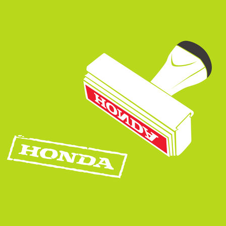 Honda stamp illustration.