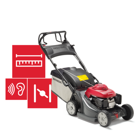 Front-threequarter, right facing lawnmower, specification illustration.